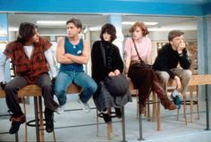 Judd Nelson (as John Bender), Anthony Michael Hall (as Brian Johnson), Molly Ringwald (as Claire Standish), Emilio Estevez (as Andrew Clark) and Ally Sheedy (as Allison Reynolds) on sets of The Breakfast Club (1985) #breakfastclub #80smovies #JohnHughes #MollyRingwald #JuddNelson #AnthonyMichaelHall #AllySheedy #EmilioEstevez #85movies #1985