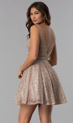 Shop glitter-mesh short homecoming dresses at Simply Dresses. V-neck party dresses, metallic fit-and-flare dresses, and semi-formal a-line dresses with open v-back details, and rhinestones. Semi Dresses, Grad Dresses, Dance Dresses, Homecoming Dresses, Short Dresses, Party Dresses, Engagement Dresses, Fit N Flare Dress, Prom Girl
