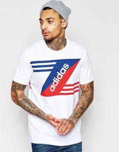 De fedeste adidas Originals T-Shirt With Retro Logo AO2354 - White adidas Originals Printed til Herrer til hverdag og til fest