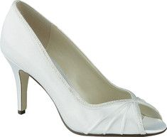 An elegant 3  peep toe pump with pleated dyeable upper, leather sole, sparkling crystal details along profile of shoe, and a comfort padded insole for better support.