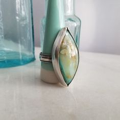 Peruvian Opal Ring in Sterling Silver Size 9.75