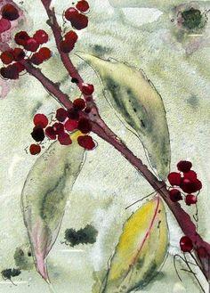American Beautyberry Botanical Watercolor Art by RedbirdCottageArt, $20.00