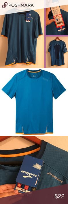 """Brooks running/workout Infiniti reflective shirt Great colors... dark blue/teal and yellow with silver reflector strips. Official style is Infiniti in Baltic and Poseidon colors. Breathable and light. Zippered security compartment for keys or ID. Size XL. Brooks. The back says Infiniti. 30"""" length. Supposedly this even has odor-blocking technology.. 🤔 Soft and stretchy. Bundle to save. Note: Not Nike, just used for exposure. Smoke and pet-free home. Enjoy! 😋 Brooks Shirts Tees - Short…"""