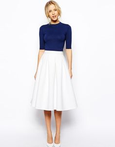 ASOS Premium Structured Full Midi Skirt in Bonded Crepe White UK 12/EU 40/US 8