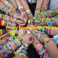 I wonder if I could convince all my friends to be a part of this. we could trade amongst each other. Do this with people I know first. then onto PLUR sisters eh? Friendship Day Bands, Friendship Day Wishes, Best Friendship, Rave Candy, Rave Bracelets, Rave Accessories, Rave Gear, Bracelets With Meaning, Kandi