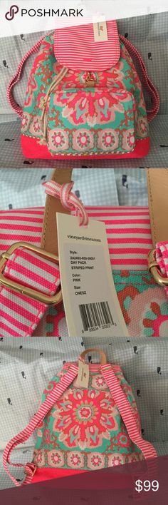 """VINEYARD VINES pink/aqua day BACKPACK NWT Fabrics: Canvas  Features:  · Printed and solid canvas w/Leather top handle  · Whale charm on front flap  · Front zipper compartment   · Interior zipper pocket  · Drawstring top with buckle clip  Size: 16"""" height x 12"""" width ----- no trades Vineyard Vines Bags Backpacks"""