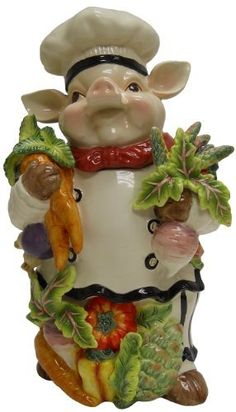 Chef Pig Cookie Jar by Lily Creek, http://www.amazon.com/dp/B005MSGBYY/ref=cm_sw_r_pi_dp_RMGDqb069BM01