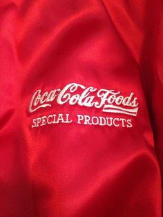Vintage Pla-Jac By Dunbrooke Coca Cola Food Products Red Satin Jacket Mens XL #PacJacbyDunbrooke #FlightBomber