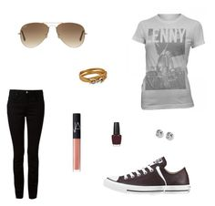 """Untitled #4942"" by mie-miemie ❤ liked on Polyvore featuring T By Alexander Wang, Converse, Ray-Ban, NARS Cosmetics, Salvatore Ferragamo, OPI and FOSSIL"