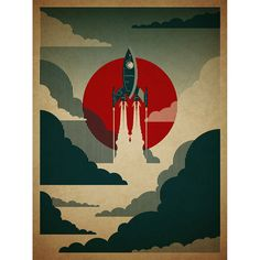 I. Need. This.  Mid-Century Rocket Ship Print | dotandbo.com  With space travel becoming a reality in the mid-century, we began to see an influx of design suggesting aerodynamic inspiration. Nods to rocket ships and space travel started popping up in interior decorating. Relive this excitment by outfitting your wall with this stunning rocket ship print.