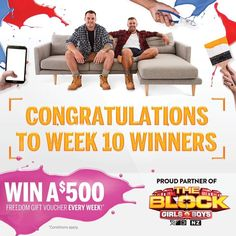 Huge congratulations to the Week 10 winners of our The Block NZ competitions! We are giving away 2 x $500 & 1 x $250 Freedom Gift Vouchers this week.  Week 10 winner of our in-store Selfie Contest is @dollyrocketsnz. Congratulations on your $500 to spend at Freedom.  Week 10 winner of our Faves VS Faves online competition is Luana Te Hira. Congratulations on your $500 to spend at Freedom.  Week 10 winner of our Freedom App competition is @sarahcourtneyr. Congratulations on your $250 to spend…