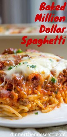 Baked Million Dollar Spaghetti - Dinner, then Dessert Baked Million Dollar Spaghetti is creamy with a melty cheese center, topped with meat sauce and extra bubbly cheese. Tastes like a cross between baked ziti and lasagna with half the effort! Italian Dishes, Italian Recipes, New Recipes, Dinner Recipes, Cooking Recipes, Favorite Recipes, Healthy Recipes, Turkey Recipes, Cheese Recipes