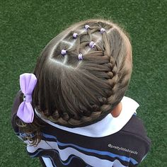Simple sports hair today, fun elastics and French braid!