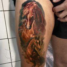 Realistic 3D Horse Tattoo Design & Idea on Thigh