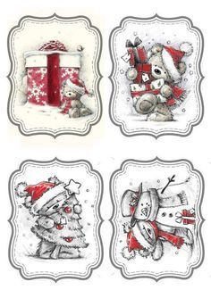 """Photo from album """"Новогодние ярлычки"""" on Yandex. Christmas Clipart, Christmas Gift Tags, Christmas Printables, Christmas Pictures, Xmas Cards, All Things Christmas, Vintage Christmas, Christmas Ornaments, Christmas Topper"""