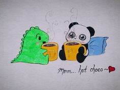 One-of-a-kind hand-painted Dino & Panda t-shirt from my series of 100 T-shirts back in 2012.   Dino & Panda enjoy a cup of hot chocolate :)  Size: Large