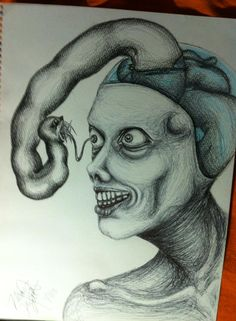Ball point pen and colored pencil