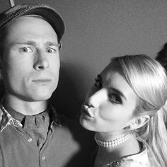 Pin for Later: 37 Killer Social Media Snaps From the Cast of Scream Queens  Glen Powell and Emma Roberts struck a pose in this black-and-white photo.