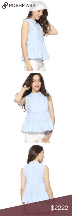 🆕 Blue Layered Ruffle Babydoll Top D40 ‼️‼️ PLEASE LIKE THIS LISTING TO BE NOTIFIED WHEN THIS ITEM IS LISTED ‼️‼️ Tops