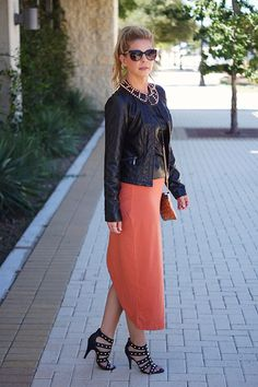 Midi skirt from @shopgracieb.com with leather accents. #shopgracieb