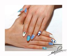 nails nailart design blue white