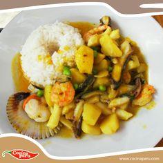 Esta vez probaremos algo diferente, un Cau Cau de Mariscos, si quieres  conocer su preparación ingresa aquí:   http://www.cocinaperu.com/platos-de-fondo/cau-cau-de-mariscos