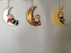 Kerstboomhangers kerstman op maan