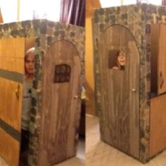 """3 doors for """"no room in the inn"""" Nativity play Created by Jared and Catherine Wood"""