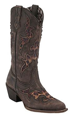 Laredo® Aphfrika™ Ladies Black/Brown Crackle w/ Leopard Inlay Snip Toe Western Boots | Cavender's Boot City