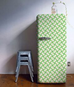 gingham on the fridge? wonder if I could use starch and fabric rather than painting it. Hate the idea of sanding the fridge.