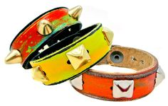 Leather Couture by Jessica Galindo Orange/ Yellow / Hot Pink Multicolored Studded Petite Cuff with silver pyramid studs.