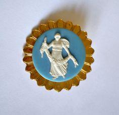 Goddess Cameo Brooch Blue & White Porcelain Antique by ESTATENOW, $22.50
