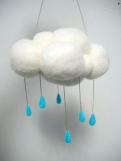 Large Hanging Rain Cloud by FingerStuckFelts on Etsy, $28.00