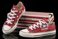 Limited Edition Red Captain America Converse Low Tops Canvas Shoes $60