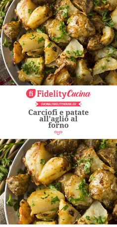 Carciofi e patate all'aglio al forno Potato Recipes, Vegetable Recipes, Vegetarian Recipes, Chicken Recipes, Cooking Recipes, Healthy Recipes, Kenwood Cooking, Tastemade Recipes, Veggie Side Dishes