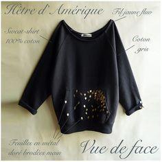 """Sweat-shirt en coton brodé """"Hêtre d'Amérique"""" par LeBestiaire #DaWanda.com"""