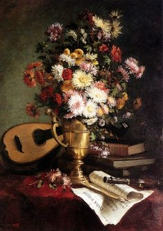 Crouan, Julie (19th century) - Still Life with mandolin, 1879