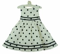 Rare Editions off-white sailor dress with navy dots