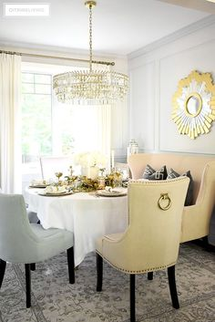 Beautiful luxe fall tablescape set in a light and airy dining room - crystal chandelier, gold mirror, vintage style light grey rug. Vintage Decor, Vintage Style, French Vintage, Decorating Your Home, Decorating Ideas, Decor Ideas, Dining Room Design, Dining Rooms, Fall Table