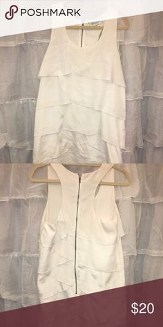 White tank dress with detail Layered detail, and zipper detail on the back. Francesca's Collections Dresses Mini