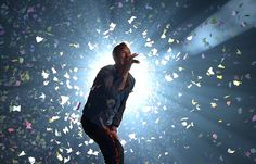 Chris Martin of Coldplay, during a concert at the National Stadium in Warsaw, Poland on 19 September