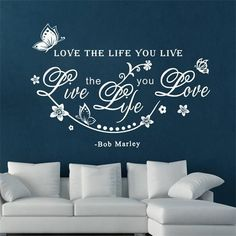 butterfly love the life you live flower vine wall art stickers for living room home decoration diy decals vinyl bob marley Wall Stickers Wallpaper, Wall Stickers Home Decor, Room Wallpaper, Vinyl Wall Stickers, Wallpaper Ideas, Butterfly Wall Decals, Butterfly Wallpaper, Butterfly Background, Pvc Wall