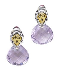 Radiant Orchid - William Schrafft Faceted Pink Amethyst Earrings In Sterling Sliver & 18k Gold Accented With Pink Tourmaline Cabochons