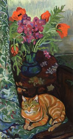 labellefilleart: Cat Lying in front of a Bouquet of Flowers, Suzanne Valadon