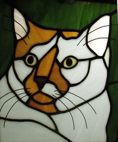 Cat stained glass panel