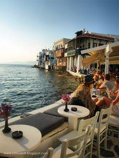 Mykonos,Greece. I've eaten at this very restaurant!!