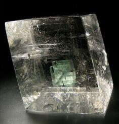 Optical Calcite with phantom.  The phantom looks doubled because calcite is birefractive.