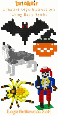 Check out the Halloween Lego Instructions from Bricksir App! We have Flying Bat Laughing Jack-O-Lantern Howling Wolf Scary Spider and One-Legged Skeleton Pirate. Bricksir app provides step-by-step Lego instructions to build cool lego models using on Lego Halloween, Lego Duplo, Lego Basic, Legos, Instructions Lego, Lego Activities, Halloween Activities, Lego Challenge, Lego Club