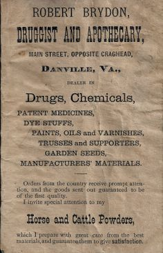 An Ad from 1880 this is available for purchase framed and matted Danville Virginia, Prompts, Drugs, Medicine, Medical