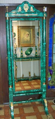 Antique Russian Malachite & Bronze Dressing Mirror